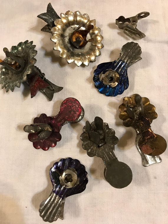 Set of 8 mixed old antique Christmas Tree Candle Clips multi color & 2 fish