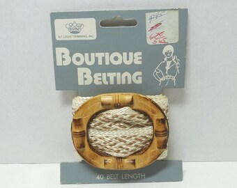 1970s Funky Boutique Belting, Woven Straw with Wood Belt Buckle, by Crown Originals, 40 In. Length With Instructions, Vintage Accessories