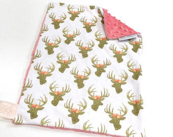 Pink Glitter Deer Baby Girl MINKY Lovey Blanket, MINI Minky Baby Blanket, Taggie Blanket, Pink and Gold Woodland Lovey Blanket, Baby Gift