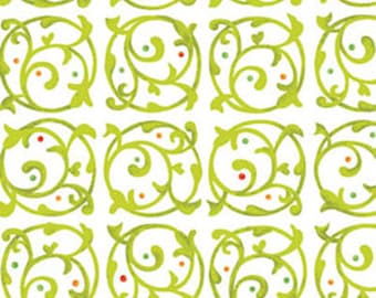 One Yard - MORE of This 'N That  - Chervil in Bamboo Green - Cotton Quilt Fabric - Designed by Nancy Halvorsen for Benartex (w1924)