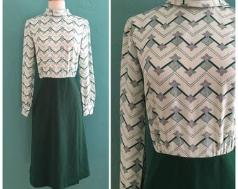 vintage 60's green florol colorblock dress //  mock neck green dress