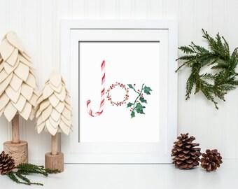 Christmas Joy Printable Wall Art Christmas Decor Christmas Print Candy Cane Holly Joy Christmas Printable Christmas Joy To The World Print