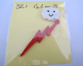 Red lightning and cloud brooch