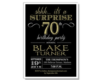 70th birthday invite etsy surprise 70th birthday invitation any age black gold invite glittter gold digital filmwisefo Gallery