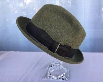 Vintage 1940s Green Beaver Felt Dobbs Game Bird Fedora