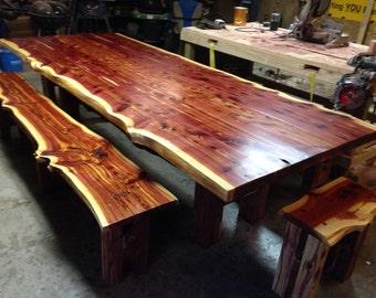 10' table! Cedar Table, Live Edge Table, Cedar Dining Set, Farm Table, Dining Set, Trestle Style Table