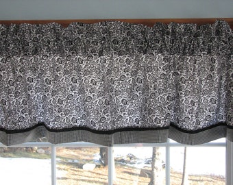 """Black Flower Toile  Valance 17"""" x 81""""  Can Alter Curtain Window Treatment"""