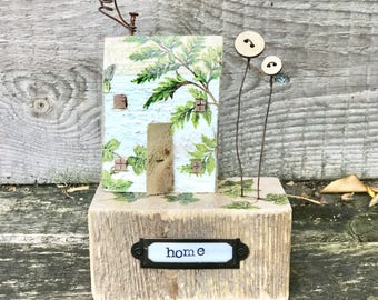 Pip house -  .. fern leaf house and garden, salvaged wood art, housewarming gift, home, rustic decor botanical home