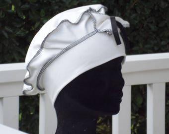 Turban Beanie beret Hat /chimio cancer / woman / black and white / designer / flax ' eva/spring summer/jersey / / anniversary