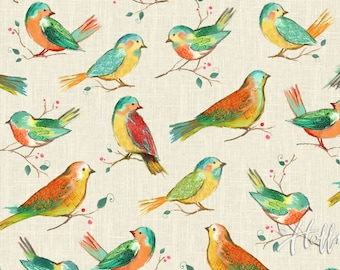 Hoffman - All a Twitter - Songbirds - Spectrum Digital Print - Fabric by the Yard P4390-145
