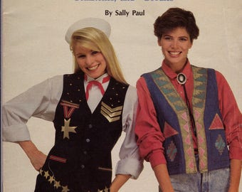 Thrift Shop Vests, 12 Vests Decorated with Paint, Fabric, Gemstones, Ribbon, Stencils & More by Sally Paul, Vest Embellishment Instructions