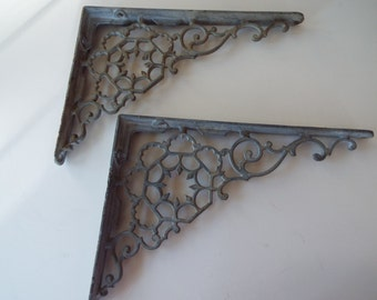 pair cast iron Victorian brackets shelf bracket scroll work ornate wall shelf