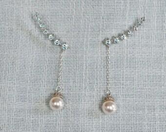 Your Choice Pearl Colour -- Handmade Cubic Zirconia CZ and Pearl Ear Climber Earrings, Bridal, Wedding (Pearl-840)