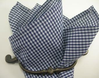 Ginham pocket square Navy Blue and white