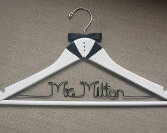 White Tux Groom Hanger