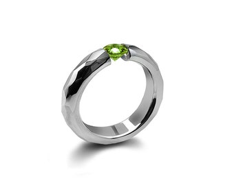 Peridot Tension Ring Hammered Stainless Steel Mounting