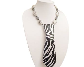 ZEETU necktie necklace zebra stripes safari womens necktie feminine necktie modern necktie ladies necktie wildlife tribal animal print