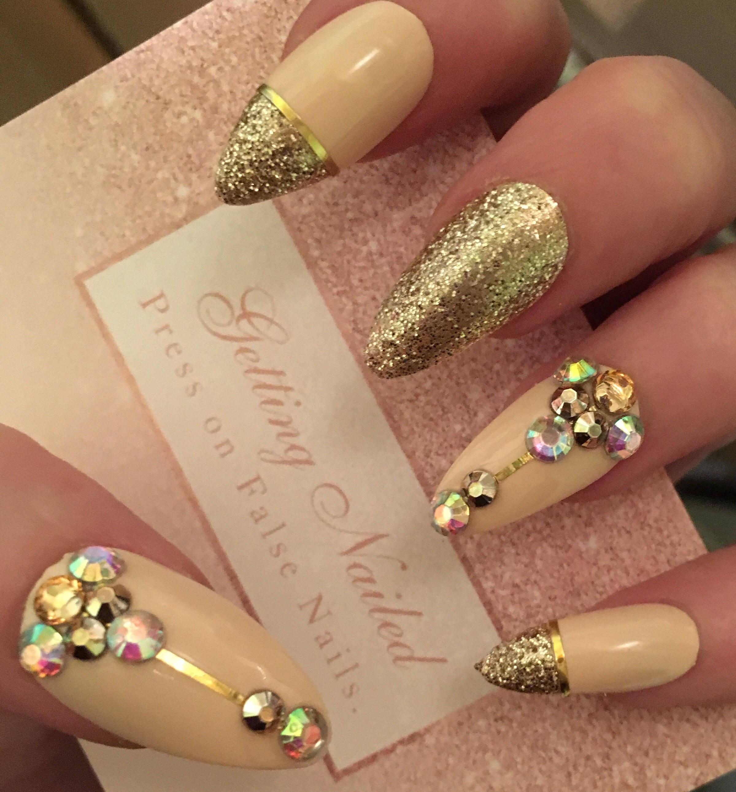 Fale nails, Nude false nails, nude gold nails, false nail set, nude ...