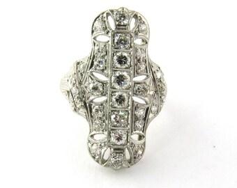 Antique Art Deco 1920's Platinum and Diamond Dinner Ring #314