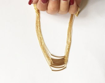 The Original Golden Gold Bar -Very Elegant and Delicate Necklace - balance bar tube By SimaG