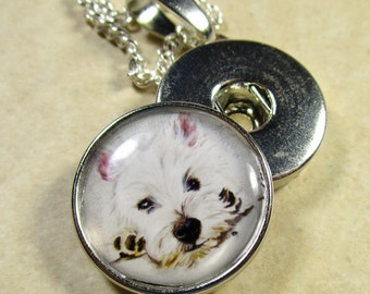 West Highland White Terrier Snap Charm, Westie Button Charm, Westie Jewelry, Westie Snap Jewelry, Westie Gift, Westie Bridal