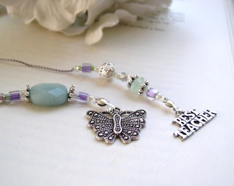 Favorite Teacher Butterfly Bookmark - Beaded Book Thong Ice Blue, Purple, and Pale Green Glass with Butterfly and BEST TEACHER silver charms