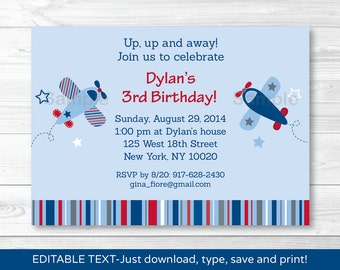 Airplane Birthday Invitation INSTANT DOWNLOAD Editable PDF A337