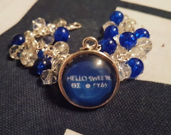 Doctor Who -inspired Gift   River Song Hello Sweetie TARDIS Blue   Loaded Statement Bracelet with 20mm Glass Pendant   Handmade in Scotland