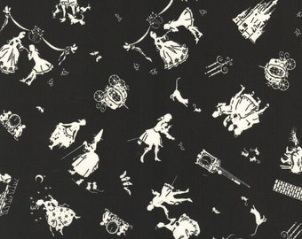 """Silhouette of Cinderella BLACK 100% Cotton Broadcloth ~ 42"""" Wide ~ Sold by the Yard"""