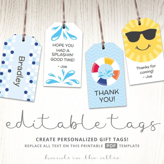 editable gift tags gift tag template favor tags pool party