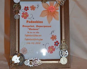 Repurposed 5x7 table top frame with Vintage jewelry