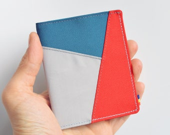 Mens Bifold Wallet. Red Teal and Grey Cordura Wallet. Vegan Wallet. Slim Wallet. Thin Wallet. Minimalist. Upcycled Wallet.