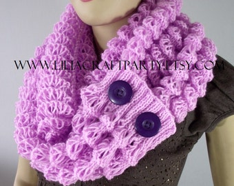 KNITTING PATTERN COWL Scarf - Angel Wings Winter Scarf Cowl with Buttons - pdf Pattern Instant Download Large Infinity Scarf