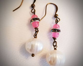 Pink chalcedony and pearl earrings