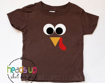 Baby Boy/Girl Thanksgving Turkey Bodysuit - Girl/Boy Toddler Turkey Shirt - Turkey Face tshirt - Turkey Tees Kids - Longsleeve - Adult/Youth