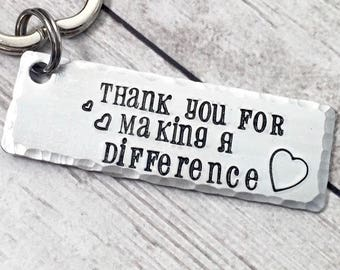 Teacher Gift from Student - Gift for Teacher Keychain - Thank You for Making a Difference Keychain - Teacher Appreciation Gift