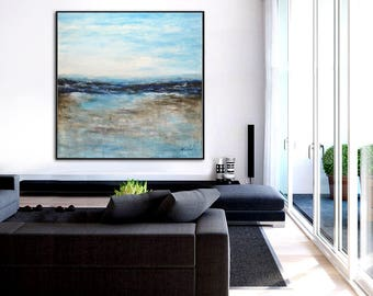 Original Large Abstract Painting Modern Art Blue Ocean Painting Acrylic painting Contemporary Landscape Oil Painting Wall Art by Sky Whitman
