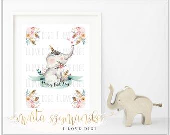 Child's room decor, Printable artwork digital download SWEET watercolour ELEPHANT for nursery decoration poster, wall art, ilovedigi