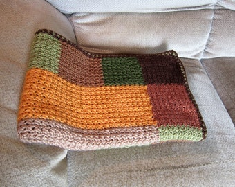 SHIPS FREE* Log Cabin Crochet Throw, Brown and Tan Crochet Afghan, Green and Sage Throw, Gift for Men, Cabin/Porch Throw, Wheelchair Throw