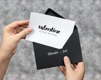 Valentine Please Be Mine Card - Printable Minimalist Typography Valentines Day Card - DIGITAL DOWNLOAD