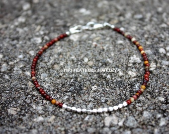 Mookaite Bracelet - Mookaite Jasper Bracelet - Sterling Silver Bracelet - Minimalist Jewelry - Tiny Gemstone Bracelet - Indian Corn Colors