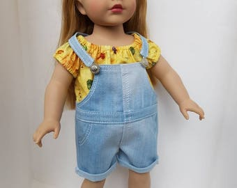 Overall for 18 inches dolls such as American Girl. Jeans overall.