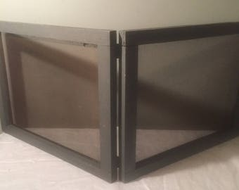 Vintage Bifold Window Screens - TWO Antique Wooden Frames with Screens - Attached