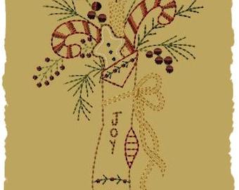 Primitive Machine Embroidery Design-Joy Stocking ~ Version 2--(5x7)-INSTANT DOWNLOAD