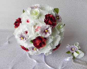 Roses, Peonies and Dianthus Wedding Bouquet and matching boutonniere - Bride bridal bouquet bridesmaids wedding flowers alternative bouquet
