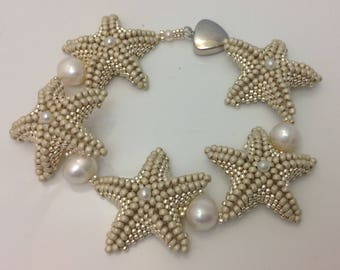 Starfish and Pearl Bracelet Tutorial using Peyote and Herringbone