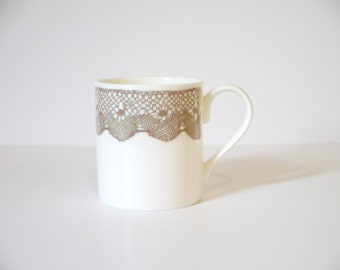 bone china mugs with lace design