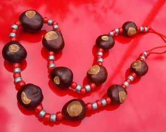 Scarlet and gray game day buckeye necklace