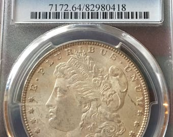 1887 Morgan Silver Dollar, PCGS Graded Coin, MS64, Philadelphia Mint