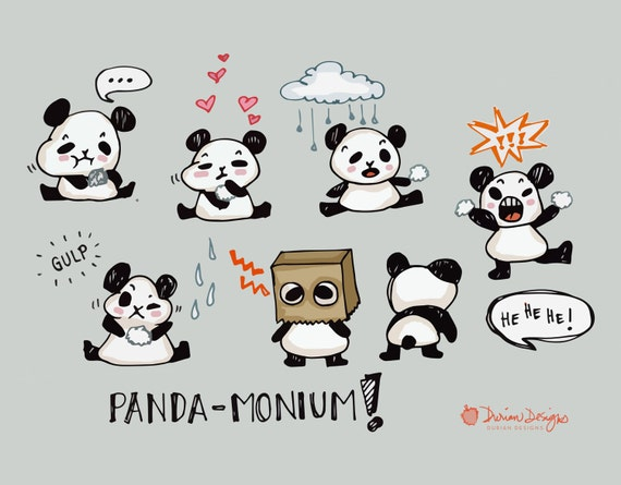 Cute Panda Clipart Commercial Use Kawaii Bears Clip Art Rice Balls Hand Drawn Illustration Graphics Instant Download From DurianDesigns On